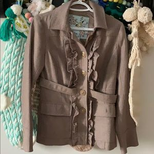 Tabitha Jackets & Coats - Anthropologie Tabitha Ruffled Peacoat
